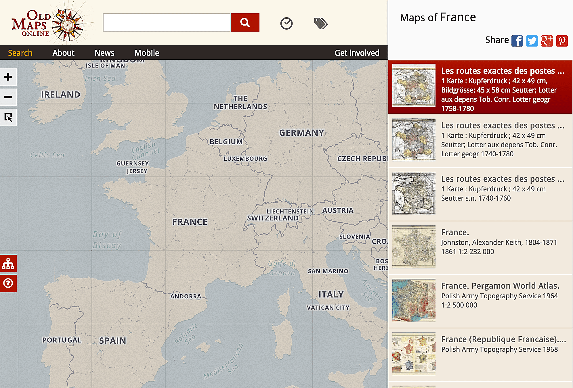 OldMapsOnline.org indexes over 400,000 historical maps from a variety of different online providers.