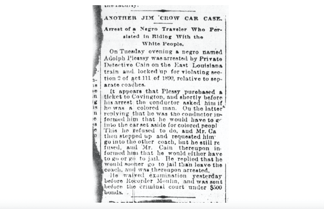 News report about Homer Plessy arrest