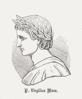 Latin poet Vergil (70 BC-19 BC), wood engraving, published 1864