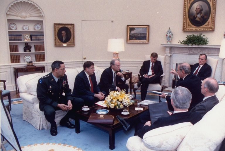 George H. W. Bush;James A. III Baker;J. Danforth Quayle;Brent Scowcroft;Richard E. Cheney;Colin L. Powell;Robert M. Gates;John H. Sununu