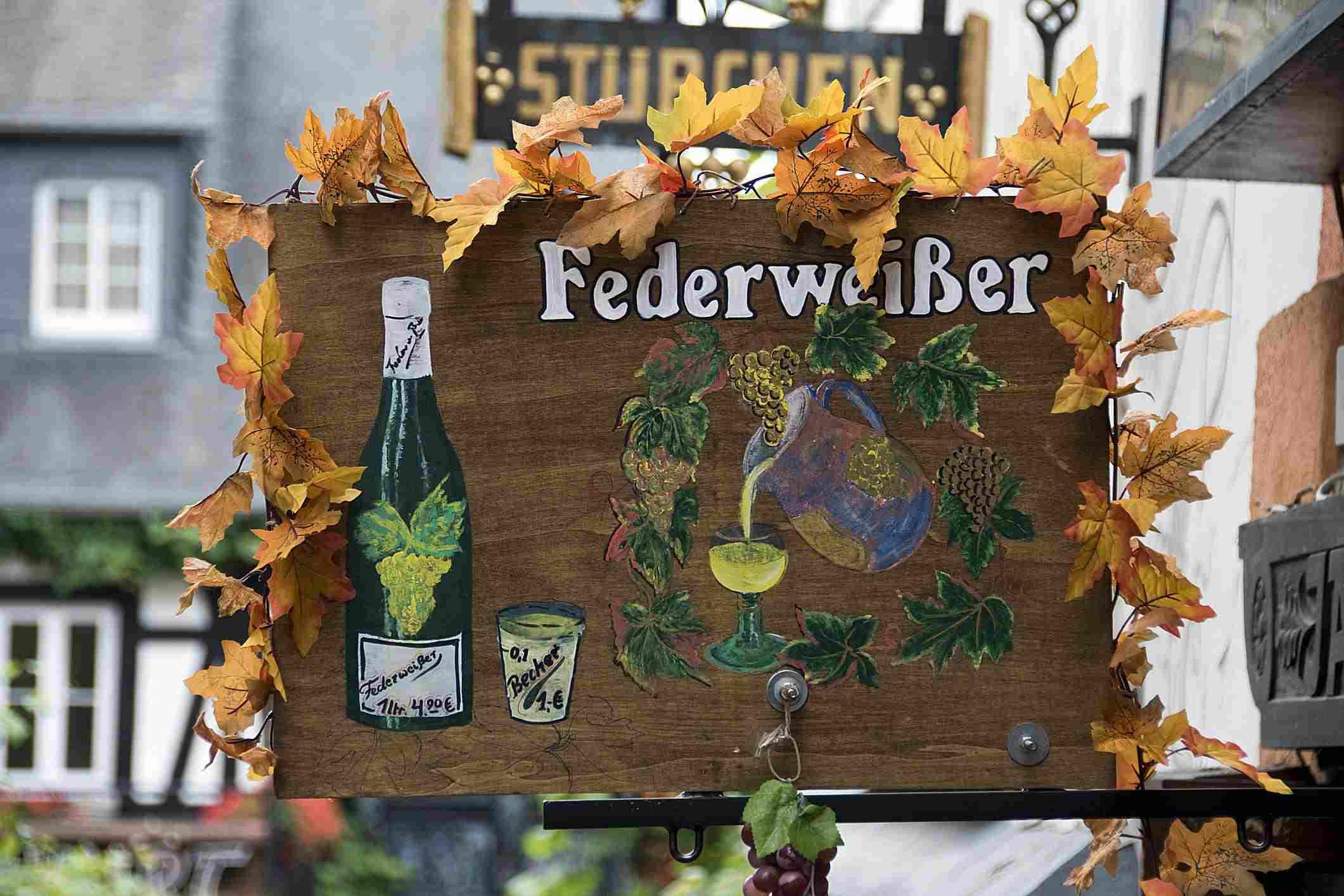 Wine shop sign written in German.
