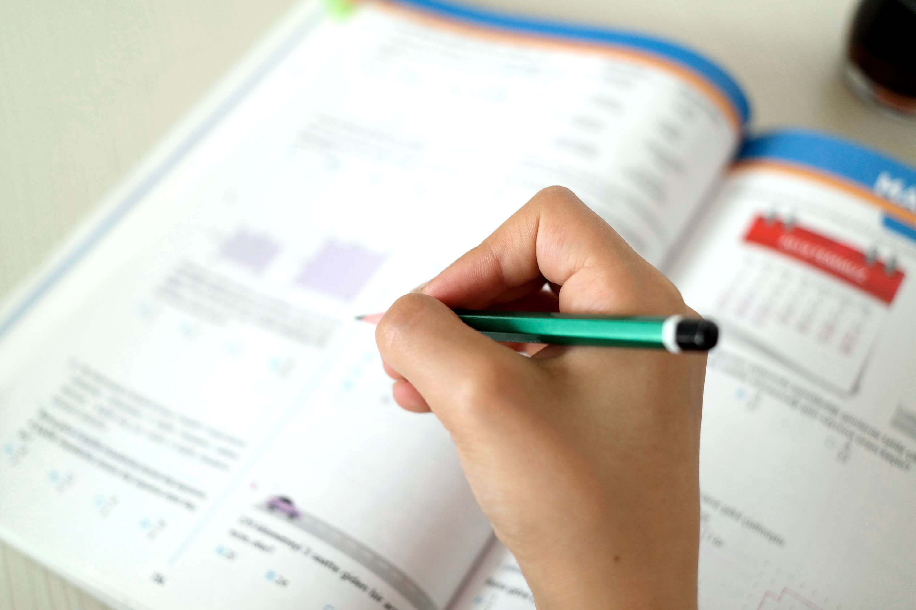 A student works to fill out a worksheet