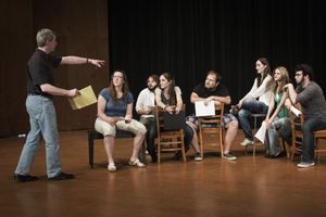 Actors playing an improv game
