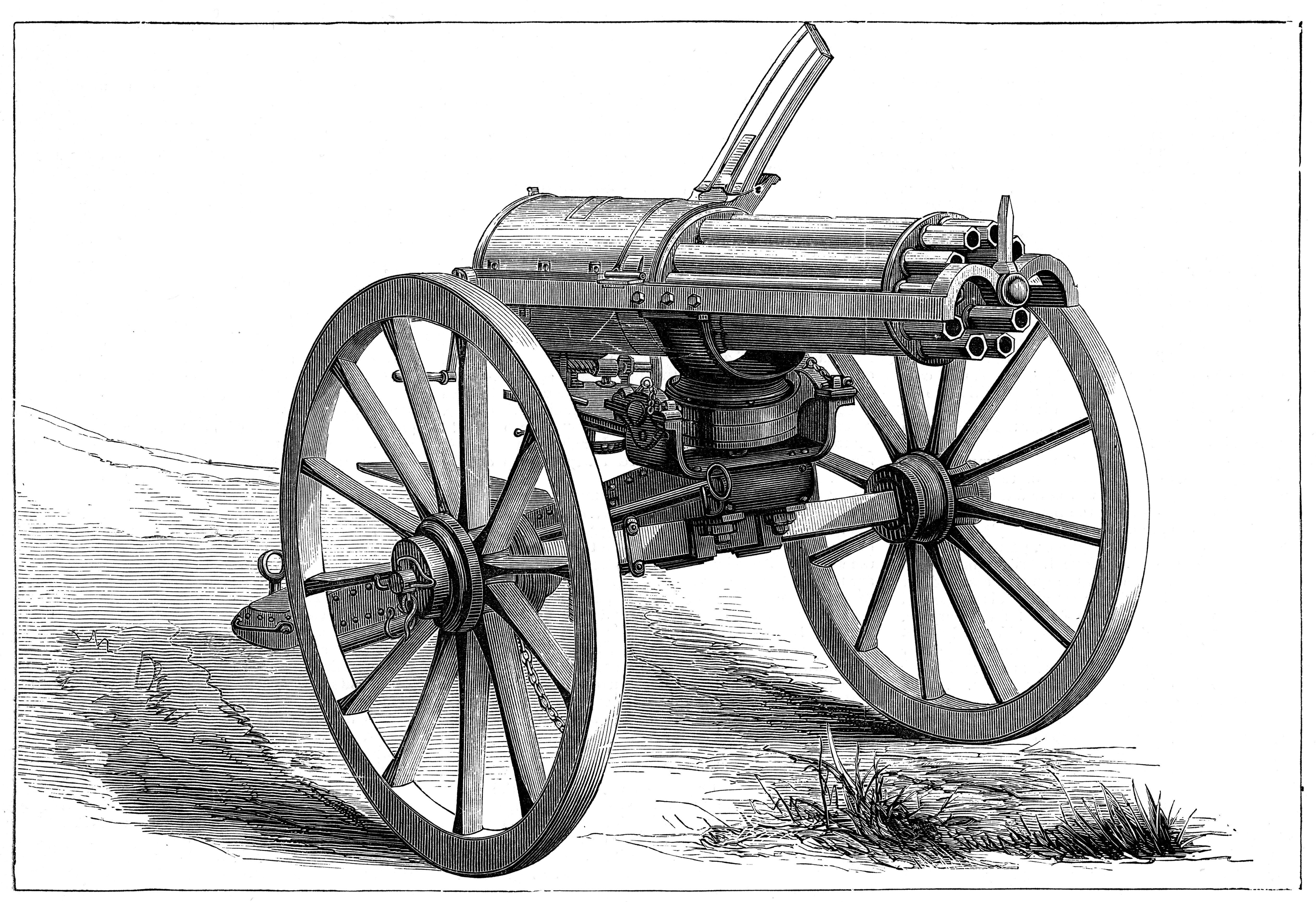 Gatling rapid fire gun, 1870. Artist: Anon