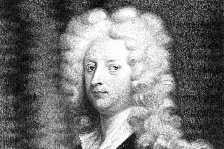 Joseph Addison portrait, black and white drawing.