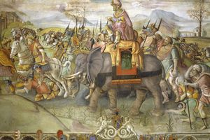 Fresco of Hannibal crossing Alps, 218 BC