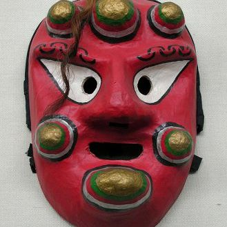 Satirical mask of an old, apostate Buddhist monk. Choegwari likes wine, women and song.