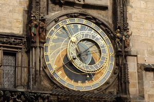 One View of the Astronomical Clock in Prague, Czech Republic