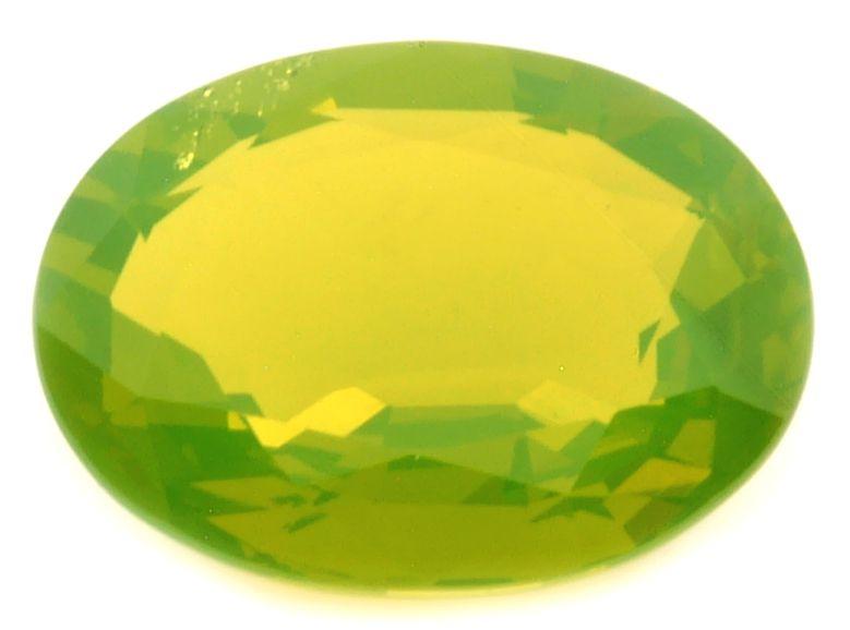Faceted yellow chrysoberyl gemstone.