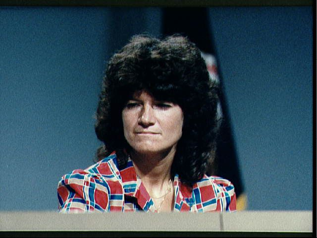 Sally Ride is interviewed in the post-flight press conference.