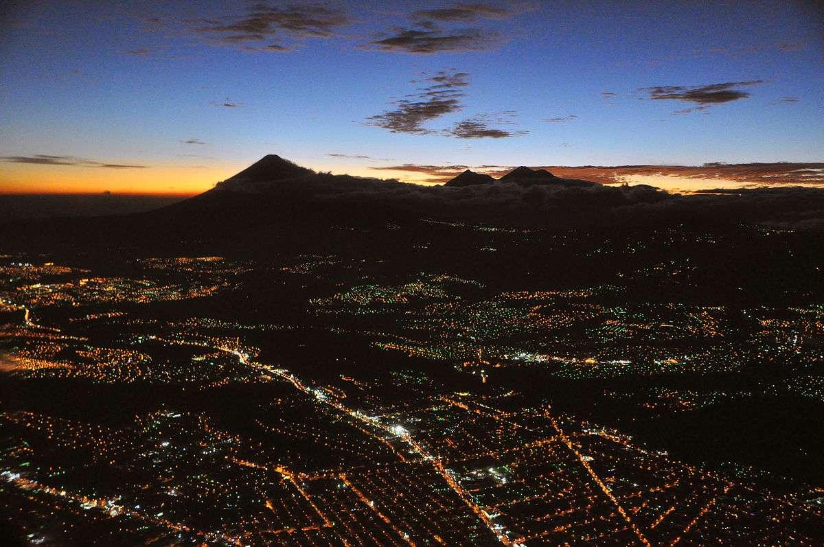 Guatemala city at night aerial view.