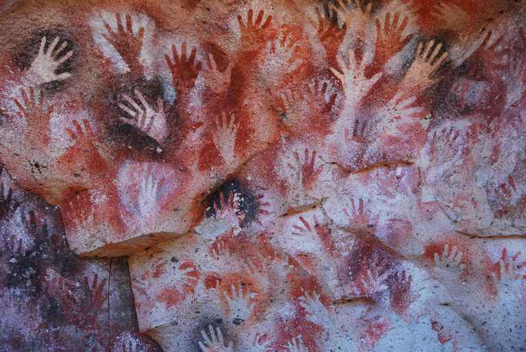Full frame shot of handprints on the cave wall at Cueva De Las Manos.