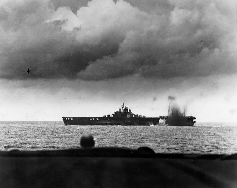 Carrier USS Bunker Hill under attack