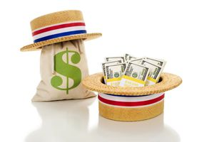 Money bag and stack in political hats