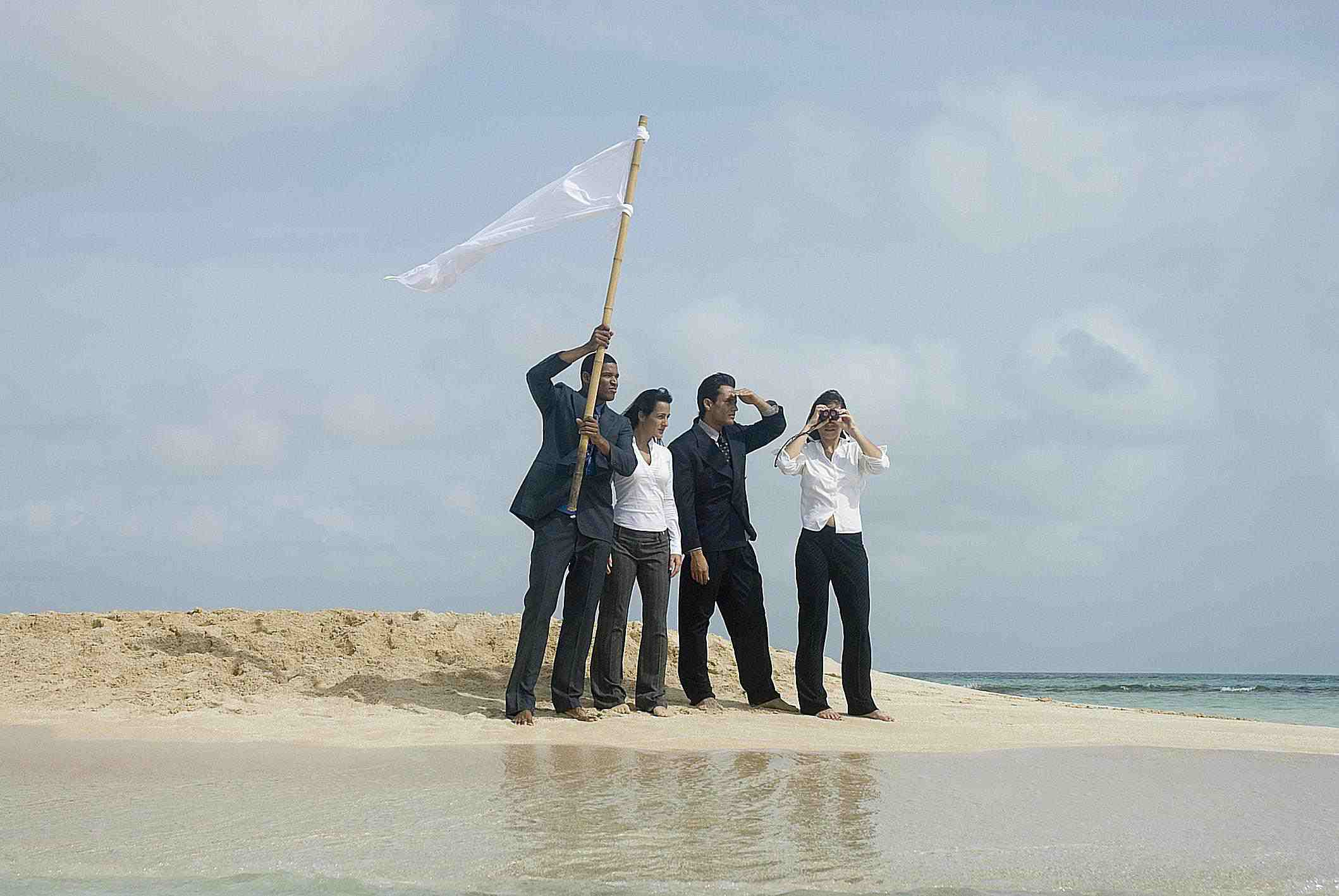 Business people stranded on island