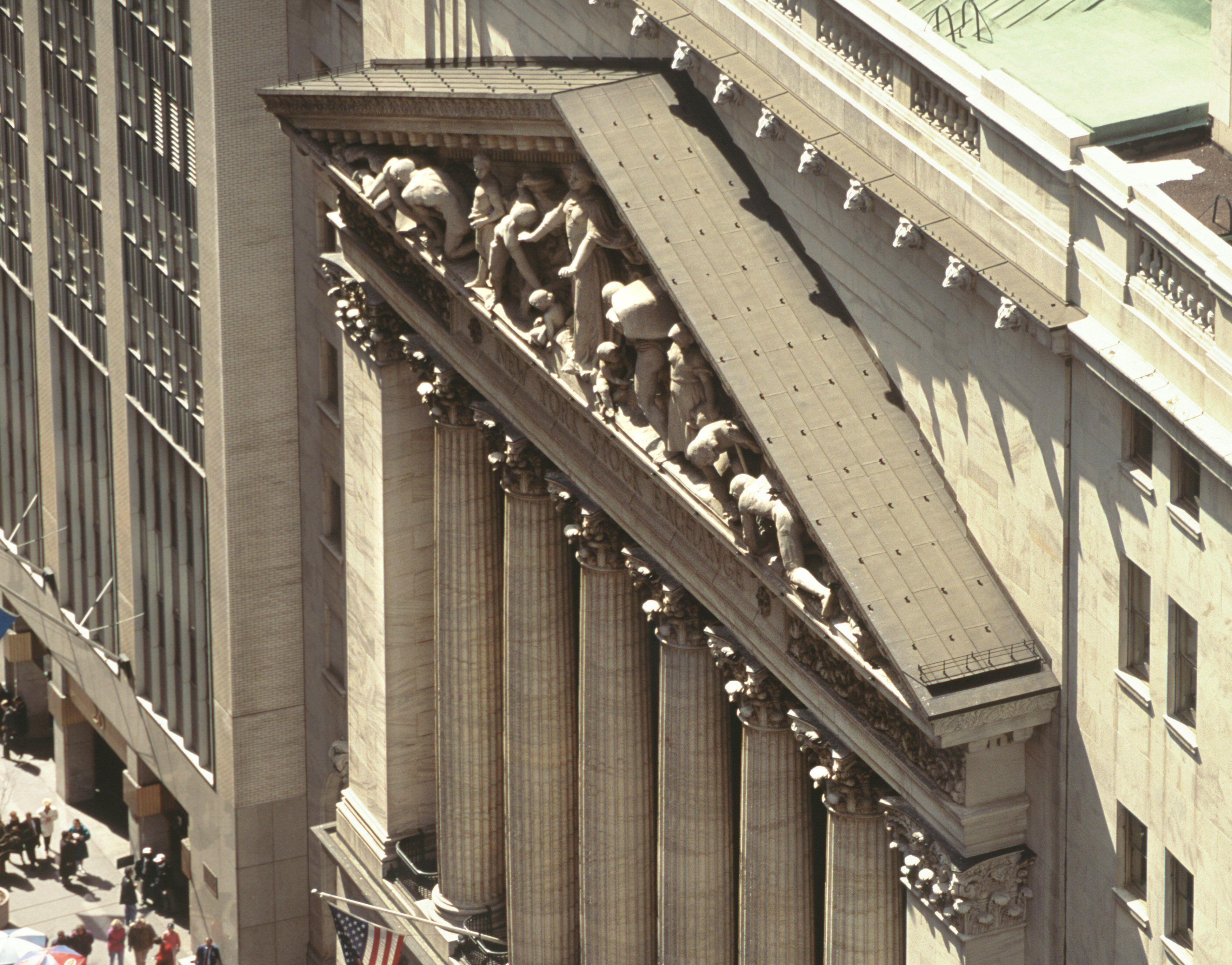 NYSE Broad Street facade from above, pediment, skylight