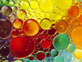 Emulsion of oil and water.