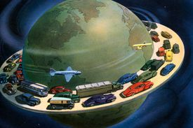 Vintage illustration of the globe of the world, surrounded by cars and planes driving on a highway around its circumference, 1941.