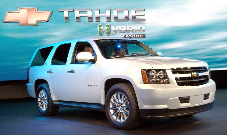 Tahoe Hybrid vehicle on display.