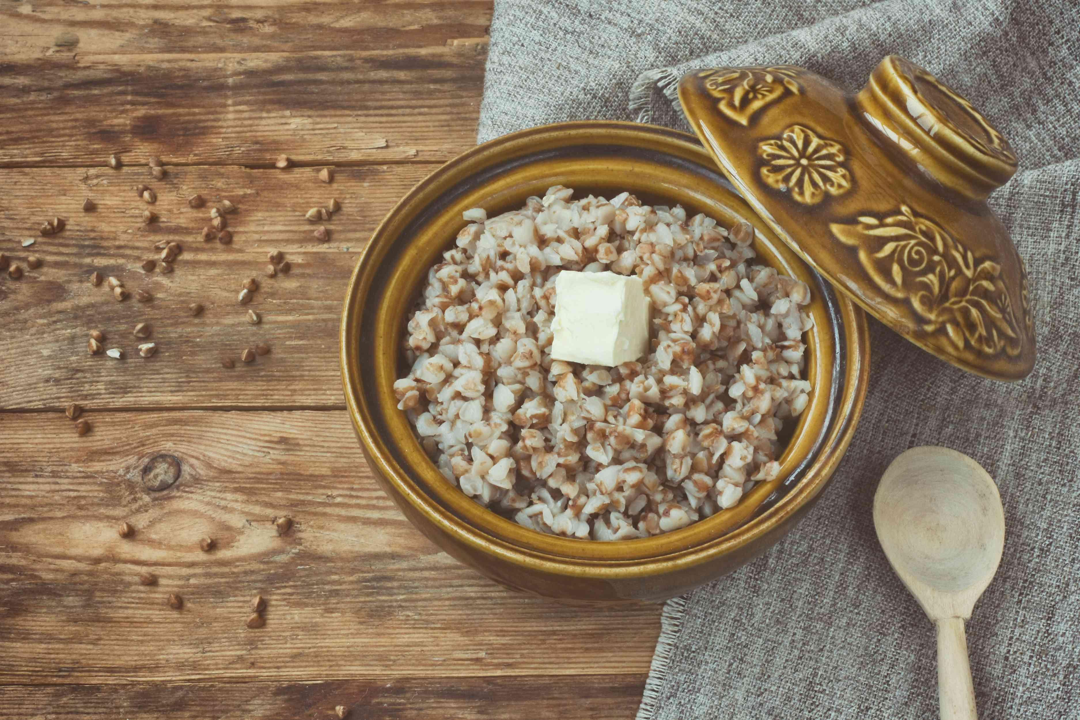 buckwheat porridge in ceramic pot