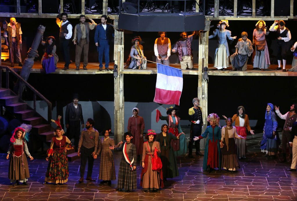picture taken on December 3, 2018 shows a scene from the musical production Les Miserables, performed by Iranian artists at the Espinas Hotel in the capital Tehran