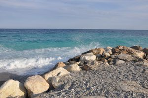 View of the Mediterranean from Beach at Nice, France