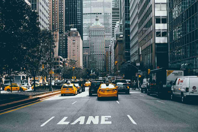 Crowded Midtown Street, NY, NY