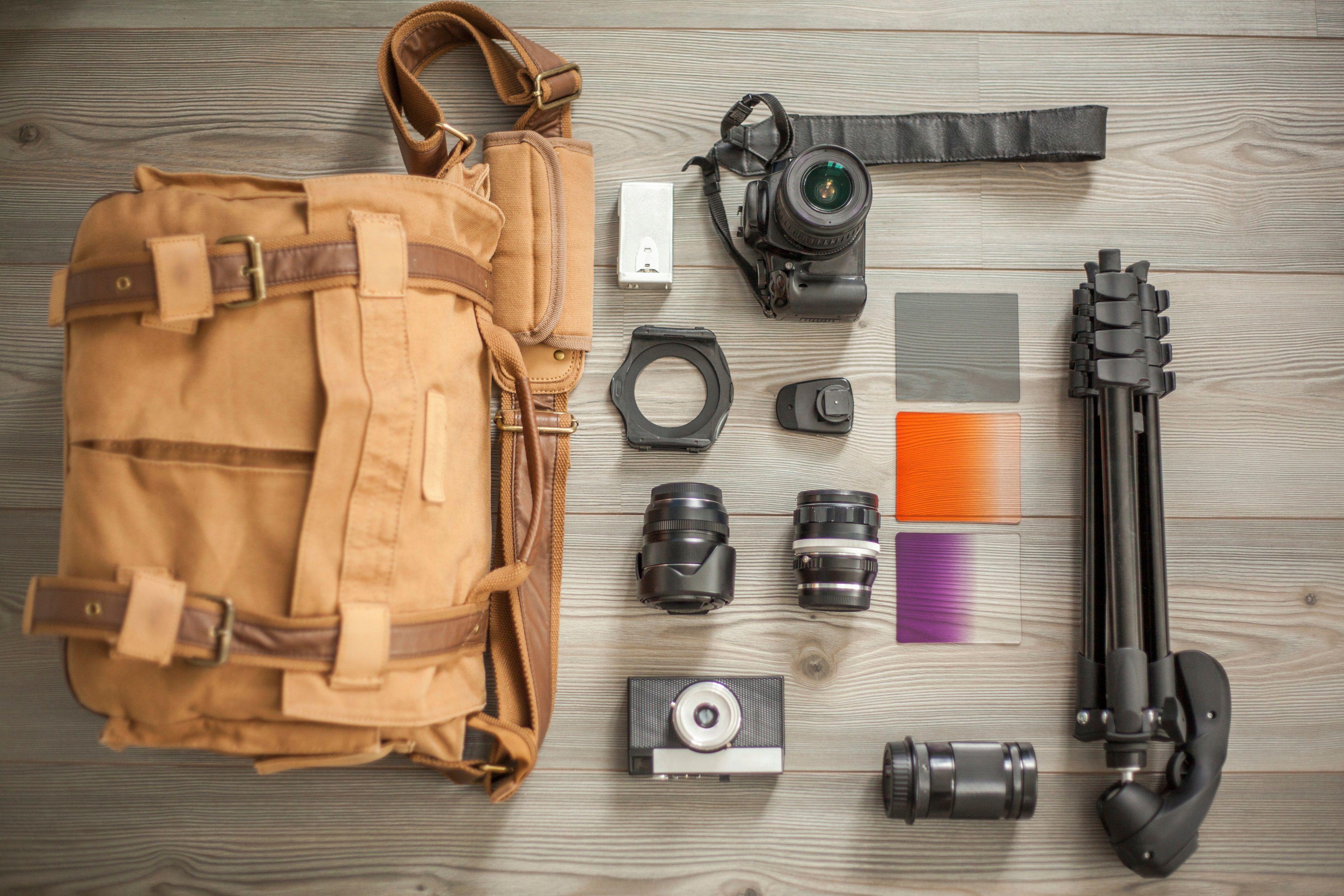 Contents of a camera bag displayed