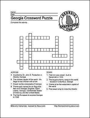 Georgia wordsearch crossword puzzle and more georgia crossword puzzle ccuart Choice Image