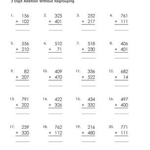 3 Digit Addition Worksheets Without Regrouping