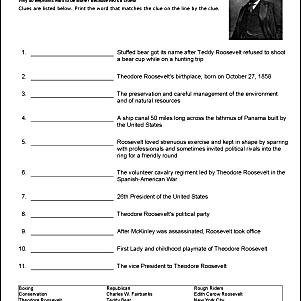 Theodore Roosevelt Vocabulary Worksheet