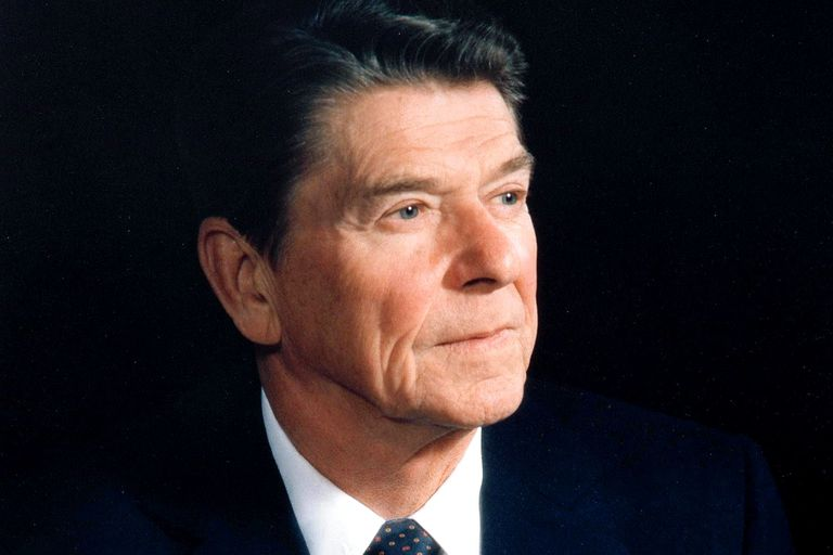 Ronald Reagan in three quarter profile