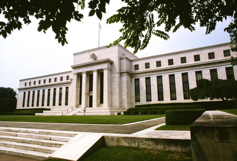Low angle view of a government building, Federal Reserve Building, Washington DC, USA