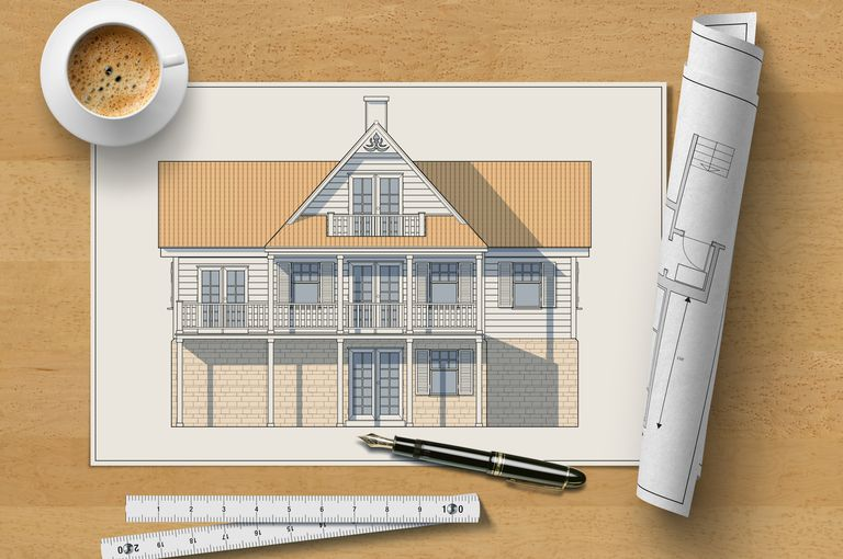 How to be a certified professional home designer architectural elevation drawing of a wooden house on a table with pen ruler rolled malvernweather Gallery