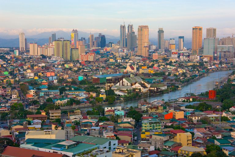 Downtown skyline along Manila Bay.