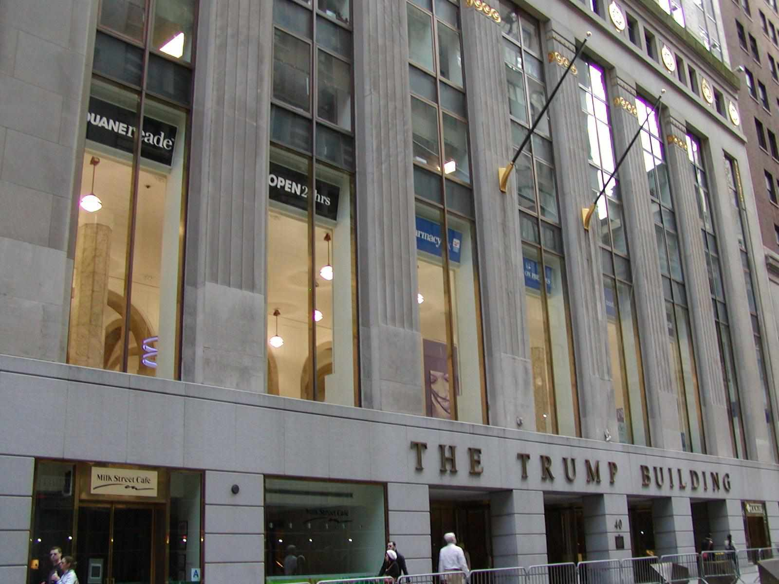 The Trump Building at street level, 40 Wall Street.