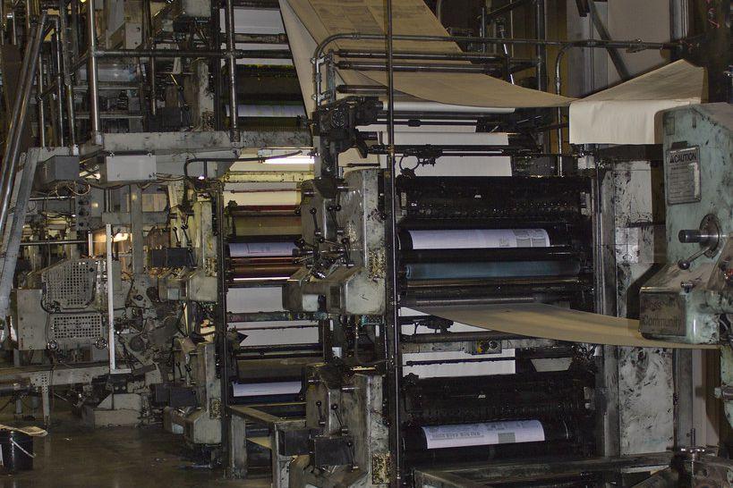 Web press printing newspaper