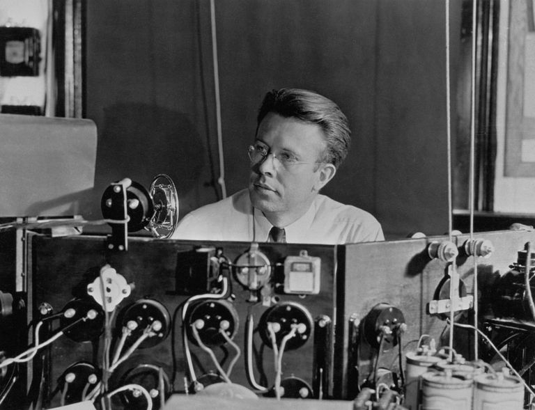 Physicist Ernest O. Lawrence Behind Cyclotron Panel