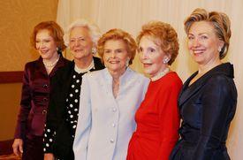 Rosalynn Carter, Barbara Bush, Betty Ford, Nancy Reagan and Hillary Clinton