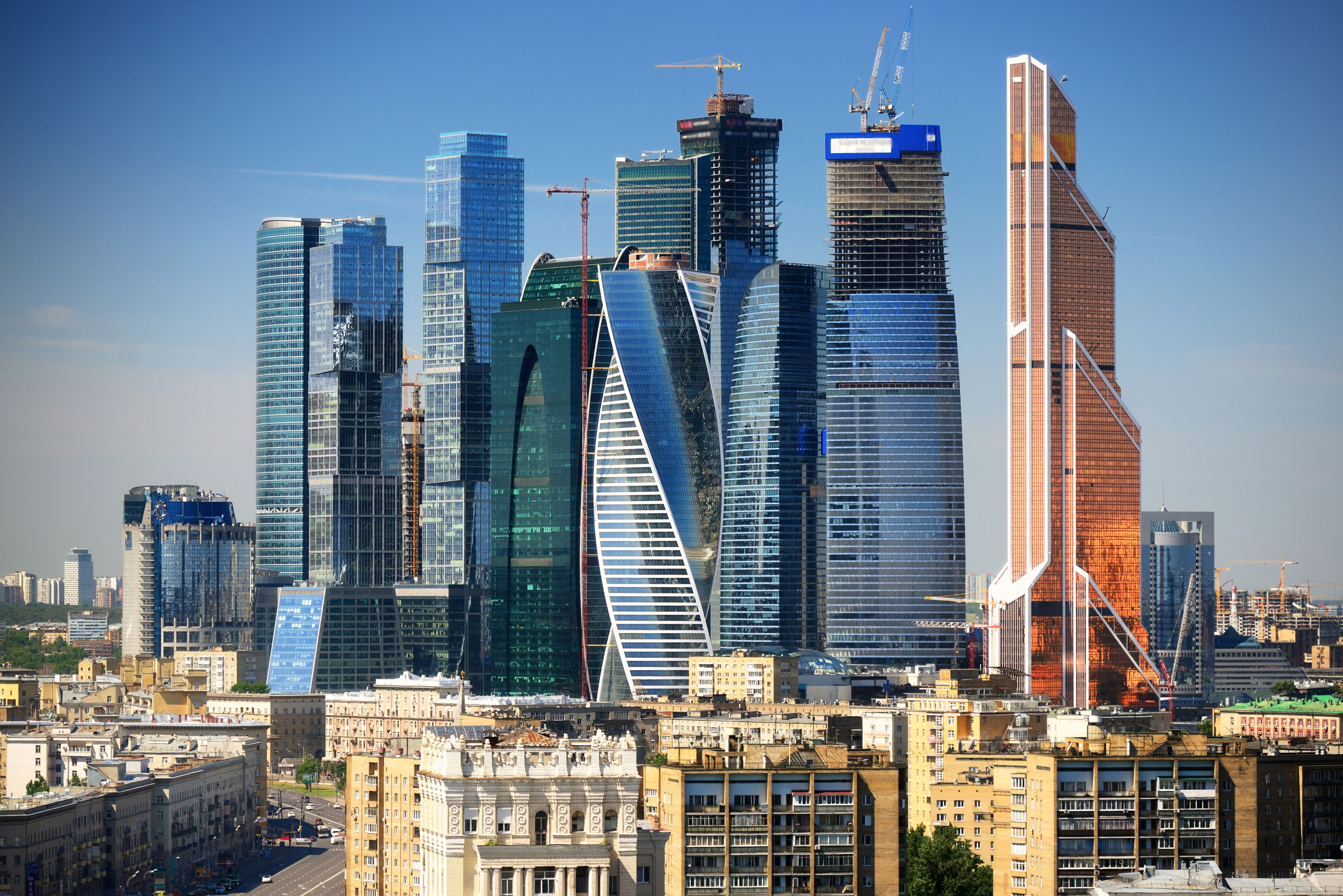 Modern skyscrapers being built in Moscow, Russia