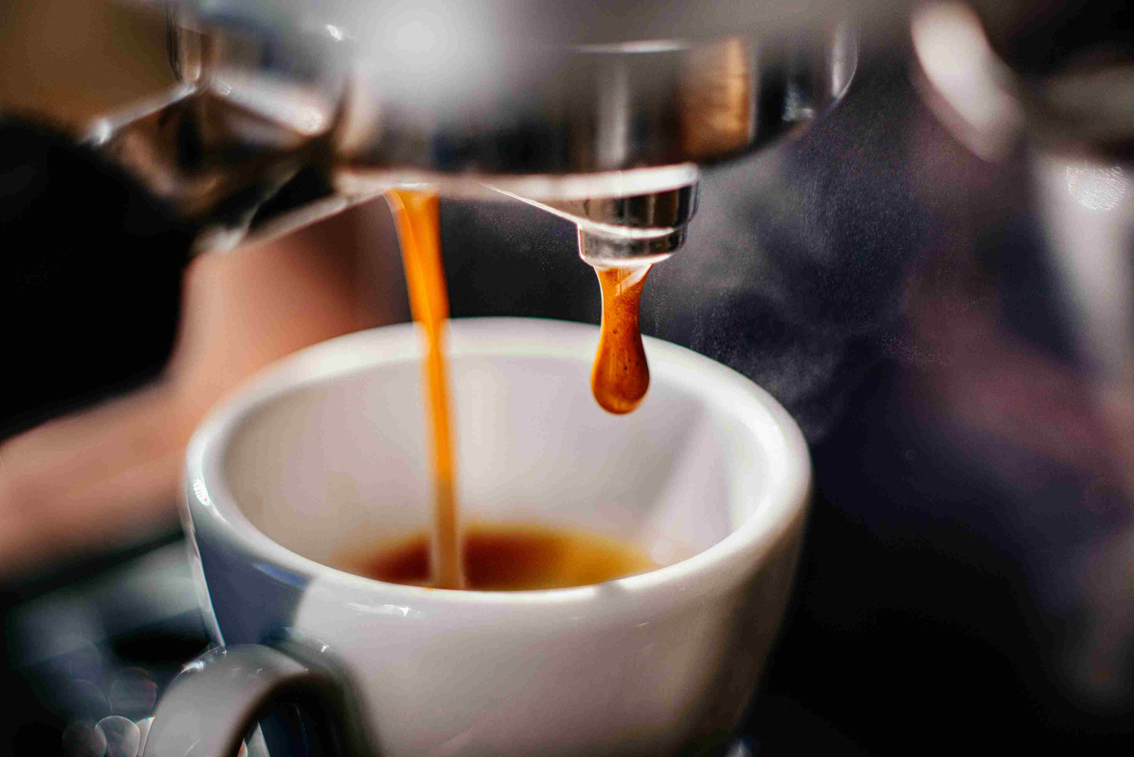 Espresso shot pouring out.