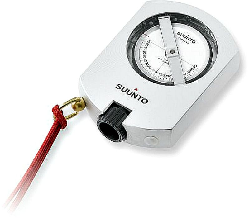 A Suunto Clinometer measures tree heights and slope