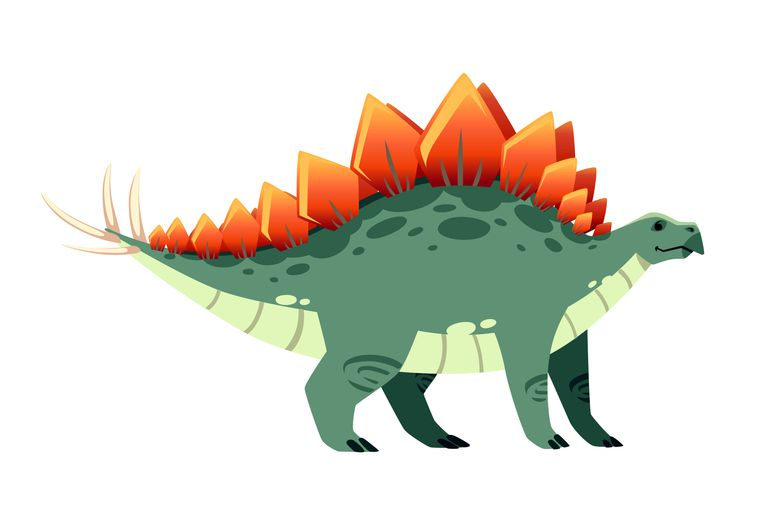 A green, cartoon stegosaurus with fiery red plates on its back