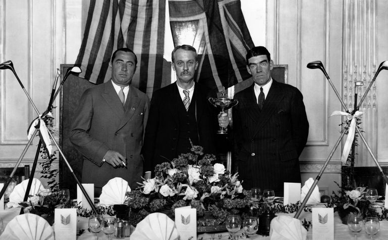 Walter Hagen, Samuel Ryder and George Duncan at 1929 Ryder Cup