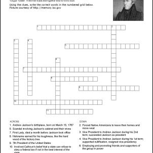 Andrew Jackson Crossword Puzzle