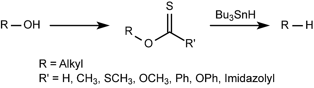 This is the general form of the Barton deoxygenation, also known as the Barton-McCombie reaction.