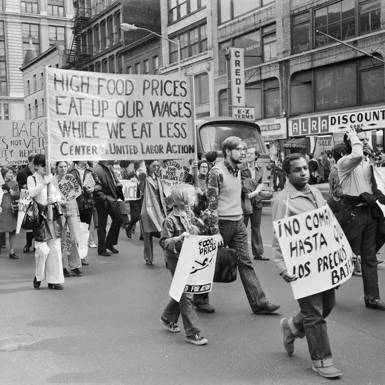 People demonstrating against high food prices in NYC, 1970s