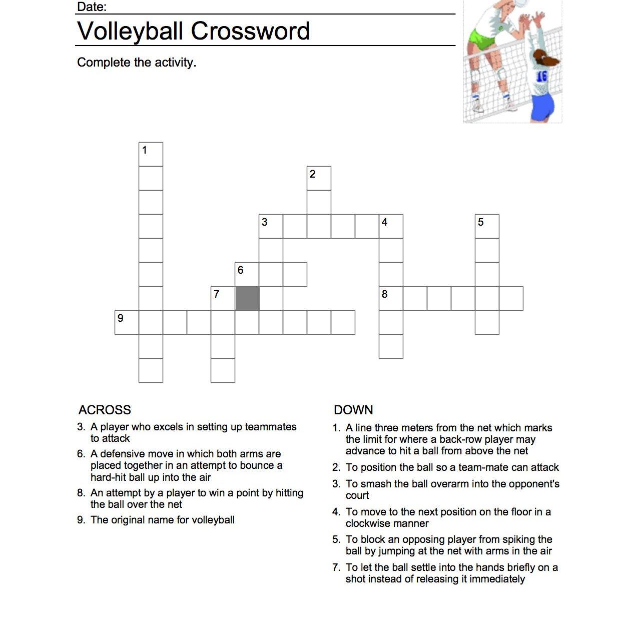 Volleyball Kreuzworträtsel