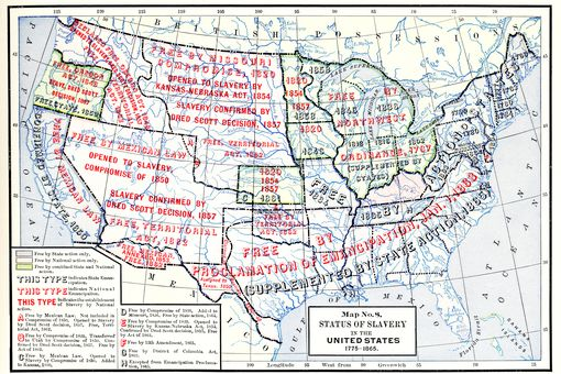 Map No 8, Status Of Slavery In The United States, 1775 - 1865