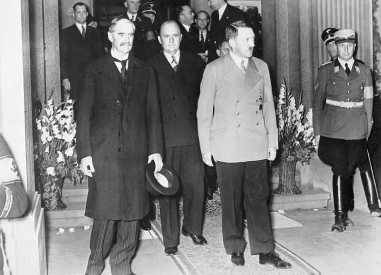 Hitler And Champerlain Leave Hotel